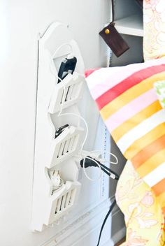 Letter holder as charging station.The Prettiest Organizational Hacks for Every Room in Your Home via Brit + Co