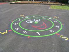 Smiley Face Compass Clock Playground Painting, Playground Flooring, Playground Games, Playground Design, Outdoor Playground, Recess Games, Paint Games, School Equipment, Outside Games
