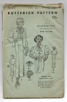 Butterick 5600 | 1930s Junior Miss Three-Piece Suit