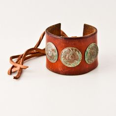 Rustic Primitive Distressed Jewelry Cuff Leather Wristband $75.00, via Etsy.