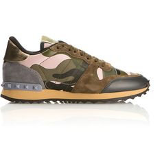Valentino Rockrunner Sneakers ($645) ❤ liked on Polyvore featuring shoes, sneakers, studded sneakers, camo footwear, camo sneakers, leather sneakers and camo shoes