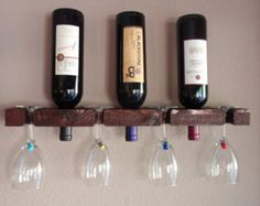 Handmade Wine Rack - Rustic 3 Bottle 4 Glass Wall Wine Rack Display for Home or Cabin