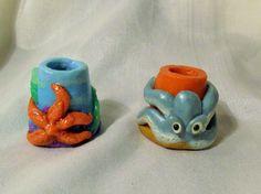 SET OF 2 CIGARETTE SNUFFERS OOAK mini polymer clay ashtray OCTOPUS STARFISH USA