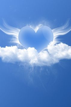 Blue Heart with Cloud Wings