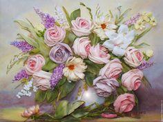 Купить Картина лентами Розовый букет - бледно-розовый, роза, розовый букет, букет из роз