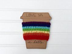 Gay pride crochet coffee cozy crochet cozy coffee by mandag433