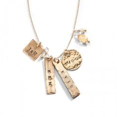 $125, Minette Name Charm Necklace - Gold Mothers Day Jewelry, #threesistersjewelry #wearyourstory