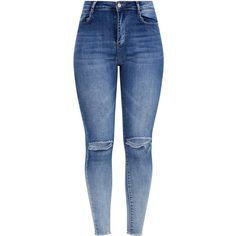 Knee Rip High Waisted Dark Wash Skinny Jean ($50) ❤ liked on Polyvore featuring jeans, pants, bottoms, destroyed skinny jeans, distressed skinny jeans, skinny jeans, blue ripped jeans and high-waisted jeans