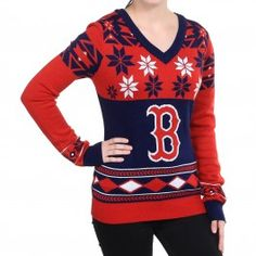 Boston Red Sox Womens V-Neck Ugly Sweater (Navy)