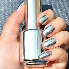 2Pcs 15ML Silver Nail Polish Metallic Mirror Effect Metal Silver & 15MLTop Coat