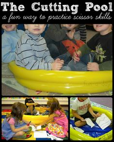 """Practicing Fine Motor Control With """"The Cutting Pool"""" -- a silly, fun way for children to practice their scissor skills.  Always a hit!"""