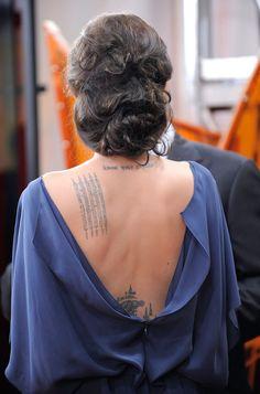 Angelina Jolie Lettering Tattoo - Lettering Tattoo Lookbook - StyleBistro