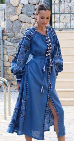 Denim blue Vita Kin style linen vyshyvanka linen MIDI dress black white Embroidery. Sizes - XS-XXL MD027