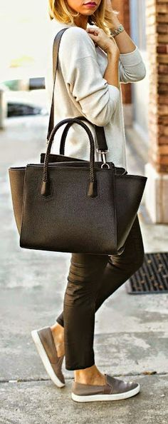Black bag, gray sweater. Street casual Fall autumn women fashion outfit clothing stylish apparel @roressclothes closet ideas