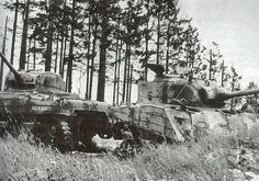 The two Shermans from Lt. Victor L Miller's 3rd Platoon of 'C' Company, 741st Tank Battalion in which Lt. Miller and two of his men died just a few yards southwest of Ruppenvenn on 17th December 1944.