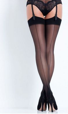 5430df603d2df L'Agent by Agent Provocateur Seam & Heel Stockings M Black/Black #