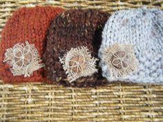 Handspun wool hat.  Love the burlap under the button.