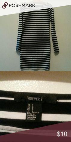 Forever 21 Short Body Con Dress Women\'s, Size S, Black & White Striped Forever 21 Dresses Mini
