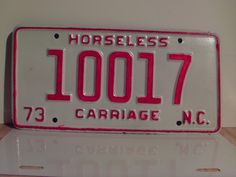 1973+North+Carolina+Rat+Rod+License+Plate+Tag+NC+#10017+YOM