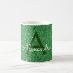 stylish design ideas unique coffee cups. Green Sparkle Glitter Monogram Name  Initial Coffee Mug Girly Cup chic design idea diy elegant beautiful
