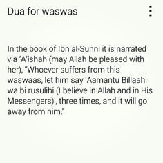 Waswas means whispers from Shaytaan.