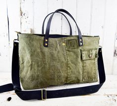 a837f7acf5e6 MILITARY Bag Tote US WWII Era Reclaimed Mens by 1770mercantile Feed Sacks