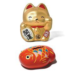 Fab.com | Goldfish And Cat Bank Set Of 2