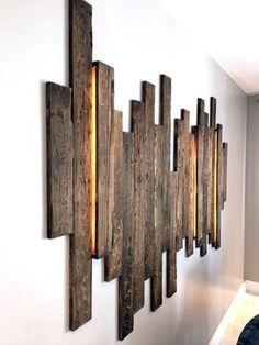 iluminacion iluminacion wandgestaltung ideen - The world's most private search engine Wood Lamps, Diy Wood Projects, Wooden Walls, Pallet Furniture, Bedroom Furniture, Bedroom Decor, Wood Wall Art, Wall Design, Diy Design
