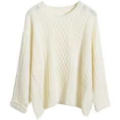 Choies.com White Long Sleeve Cable Sweater