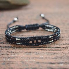 Beaded Bracelet in Black Tones with Pyrite Detail, bohemian gypsy festival bracelet