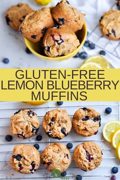 Light and refreshing, Gluten-free Lemon Blueberry Muffins are a great gluten-free and vegan breakfast muffin. Zesty lemon and fresh blueberry make for a great springtime breakfast muffin. Dairy Free Breakfasts, Gluten Free Recipes For Breakfast, Gluten Free Muffins, Vegan Dessert Recipes, Baking Recipes, Real Food Recipes, Healthy Recipes, Sweets Recipes, Muffin Recipes