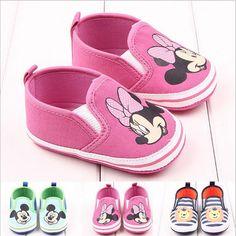 2016 New Fashion Cute Cartoon Mickey Minnie Newborn Baby First Walkers Infant Toddler Boys Girls Kids Soft Soled Anti-slip Shoes