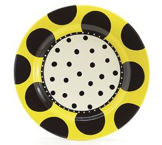 """Hand-painted ceramic yellow rim and black polka dots platter in the """"Life's a Party"""" series."""