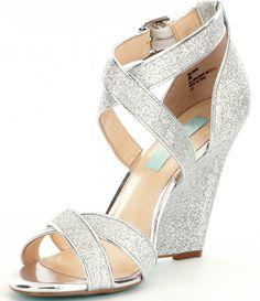 9855a73e101061 Silver Glitter Blue by Betsey Johnson Cherl Dress Sandals Wedding Wedges
