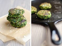 Spinach, Fava Bean and Quinoa Cakes from Umami Girl. Makes a fantastic side dish or party snack. Vegan and gluten free.