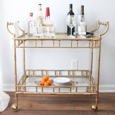 The bar cart is an essential piece for the entertainer. Favorite bar carts & a diy refinish to create a beautiful bar cart on a budget.