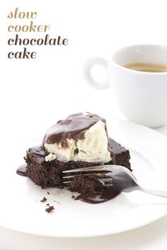 Easy low carb slow cooker chocolate cake. This is the best keto cake recipe!
