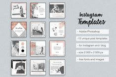 Rose Gold Instagram Templates With White & Black Marble