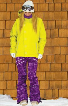 Lime! Betty Rides Snowboarding Jacket and Purple pants