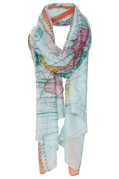 Map Print Scarf - love