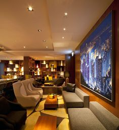 Lobby lounge at the Hotel ICON in Hong Kong designed by CL3 Architects