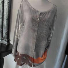 xxl Pulli mit Seide Blusenpulli Bluse Shirt grau Nieten Adler US Flagge 42 44 46