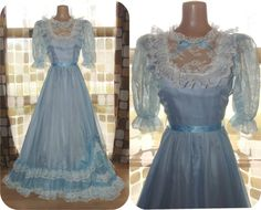 Vintage 70s Cinderella Blue Chiffon Southern by IntrigueU4Ever
