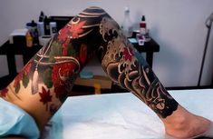 Japanese leg tattoos by Swipe to the side to see all 3 tattoos! Leg Sleeve Tattoo, 3 Tattoo, Leg Tattoo Men, Lace Tattoo, Japanese Leg Tattoo, Japanese Legs, Japan Tattoo Design, Full Leg Tattoos, Hannya Mask Tattoo