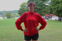 Red Blouse ML: Women's Long-Sleeve Shirt with by FoxandFawnDesign