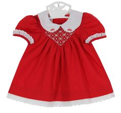 NEW Polly Flinders Red Smocked Dress with White Scalloped Embroidered Collar $75.00 #PollyFlindersChristmasDresses #PollyFlindersBabyDresses #PollyFlindersValentinesDresses