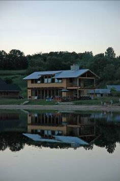 Sunset - the cabin viewed from the other side of the lake