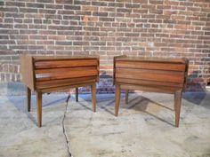 Lane-Pair-Vtg-MCM-Sculptural-Walnut-Nightstands-Kagan-Danish-Style Danish Style, Nightstands, Outdoor Furniture, Outdoor Decor, Pairs, Sculpture, Bedroom, House, Ideas