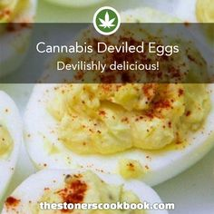 Cannabis Deviled Eggs from the The Stoner's Cookbook (http://www.thestonerscookbook.com/recipe/cannabis-deviled-eggs)