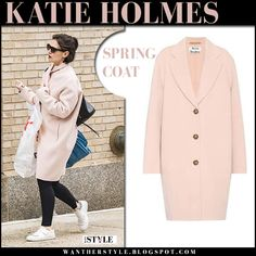 Katie Holmes in pink coat and white sneakers. #spring #style #streetstyle #fashion #acnestudios #celebrity #outfit